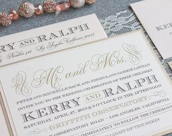 Champagne Gold Wedding Invitation | Blush Pink Wedding Invite| Formal Invitation | Traditional Invitation | Custom | Kerry and Ralph