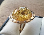 RESERVED  for Maria Di Luca Natural Baltic Amber ring with 18ct yellow gold original Rolex bezel with diamonds. 18ct Amber and diamond ring.