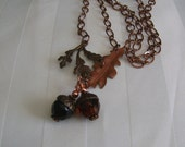 Reserved for Melanie        Acorn, Copper and Crystal Acorn Necklace, Autumn Necklace, Oak Leaves and Acorn Fall Necklace