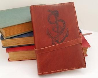 Leather Journal Sketchbook Custom Hand Printed Free Personalization