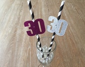 12 Thirtieth Birthday Party Straws Paper Straws 30 Year Old Thirty Birthday Party