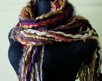 Fringe Scarf, Knotted scarf, Shades of Brown, Beige, Red, Scarf Photo Prop