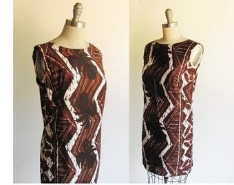 Tropical Tiki Dress / Retro Vintage 1960s Dress / Cotton Stan Hicks Hawaiian 60s Dress /  Surfer Tiki Beach Party / Small size 2  or 4