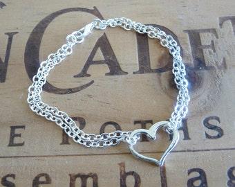Delicate Sterling Silver Heart Bracelet Minimalist Bracelet Stacking Bracelet Wedding