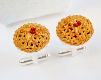 Cherry Pie Dessert Cufflinks - Miniature Food Art Jewelry Collectable - Schickie Mickie Original 100% handmade
