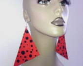 Attractive Red and Black Polka Dot Print Triangle Fabric Earrings, Women Earrings, Fashion Fabric Earring, Large Earrings, Big Earrings