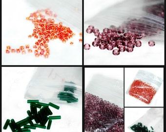 Seed Beads - Group of 3 Bags - Peach, Purple and Pine - Liquidation Sale