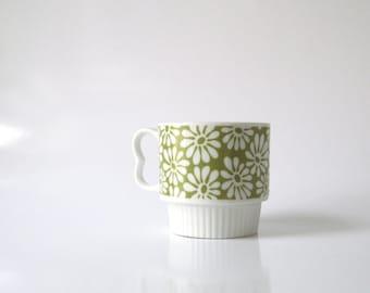 Vintage-1970s-Mod Flowers-Mug-Coffee-Tea Cup-Japan-Porcelain