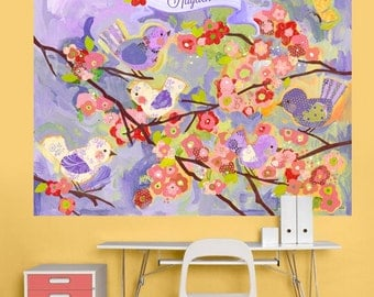 lavender and coral cherry blossom decal mural