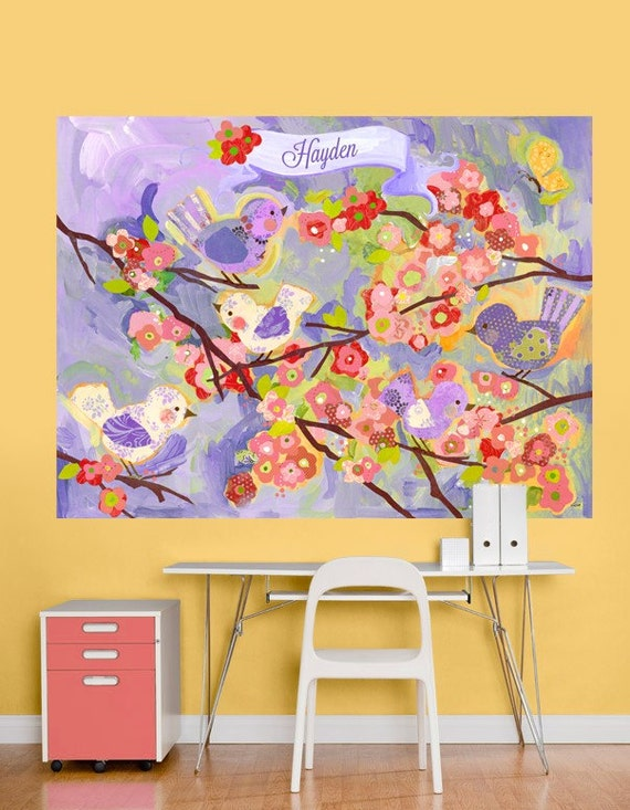 Lavender and coral cherry blossom decal mural for Cherry blossom mural