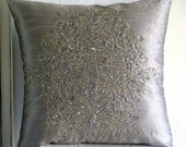 "Silver Decorative Pillows Cover,  Square  Gold Crystals Damask Embroidered 16""x16"" Silk Pillowcase - Silver Gold Damask"
