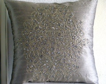 """Silver Decorative Pillows Cover,  Square  Gold Crystals Damask Embroidered 16""""x16"""" Silk Pillowcase - Silver Gold Damask"""