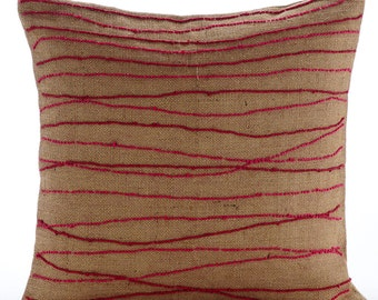 "Designer Red Decorative Pillow Cover, 16""x16"" Burlap Pillowcase, Square  Red Jute Embroidered Pillows Cover - Ambrosia"