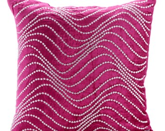 """Fuchsia Pink Throw Pillows Cover, 16""""x16"""" Velvet Pillows Cover, Square  Rhinestones & Crystal Waves Bling Pillows Cover - Crystal Twist"""