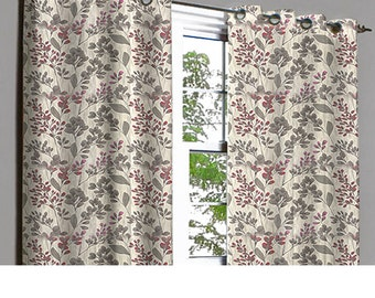 Jubiliee Floral Blast Grommet Lined Curtain in Textured Jacquard Weave Fabric Decor and Housewares Window Treatment Drape Curtain Panels