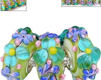 MERZIEs silver lampwork glass floral European charm large hole bead - turquoise flowers purple yellow white green - Combined Shipping