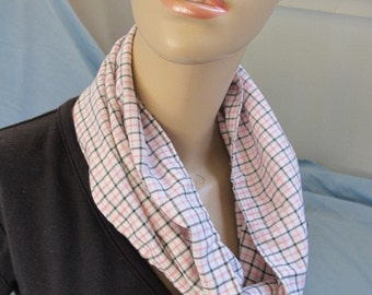 SALE - Pink and Black Plaid Cowl/Circle Scarf/Infinity Scarf (4377)