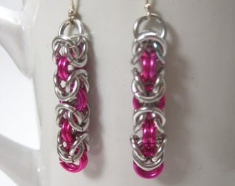 Pink and Silver Byzantine Chainmaille Earrings