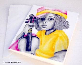 Pink Yellow Girl Note card