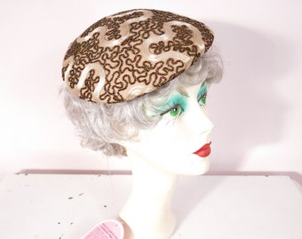 1950s Sepia Beads & Ivory Satin Rope Cap Beret Hat