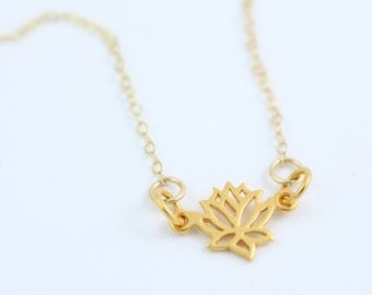 Gold Lotus Flower Necklace - Simple Meditate Necklace - Layered Necklace - Minimalist Necklace - Yoga Lover