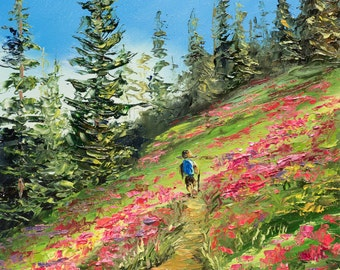 WILDFLOWER SURPRISE Framed Original Oil Painting Art Mountains Scenic Nature Flowers Hike Hiking Backpack Backpacking Trail Pine Trees Peace