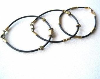 3 Black and Gold Geometric Bracelets