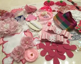 Inspiration Kit, Mixed Media Supplies, Pink Craft Supplies, Paper Crafts, Sewing Crafts, Vintage Supplies, Destash