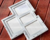 MULTI 4 Opening distressed collage picture frame with 3) 5x7 & 1) 4x6's ...White....HANDMADE