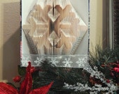 Snowflake Folded Book Art, Book Origami, Recycled Book Sculpture, Snowflake Decoration, Unique Book Lover Gift, Winter Home Decor