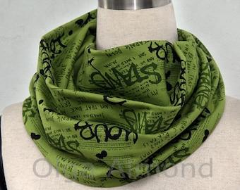 Green graffiti print  infinity scarf