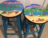 Painted bar stool //Miami Style Furniture // beach scenes turquoise rowboats Palm trees