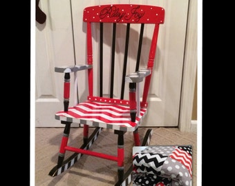 Whimsical Painted Furniture, Painted Rocking Chair // custom designed rocking chair