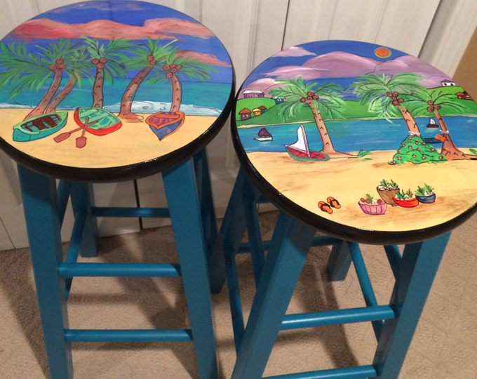 Whimsical Painted Furniture, Painted bar stool //Miami Style Furniture // beach scenes turquoise rowboats Palm trees