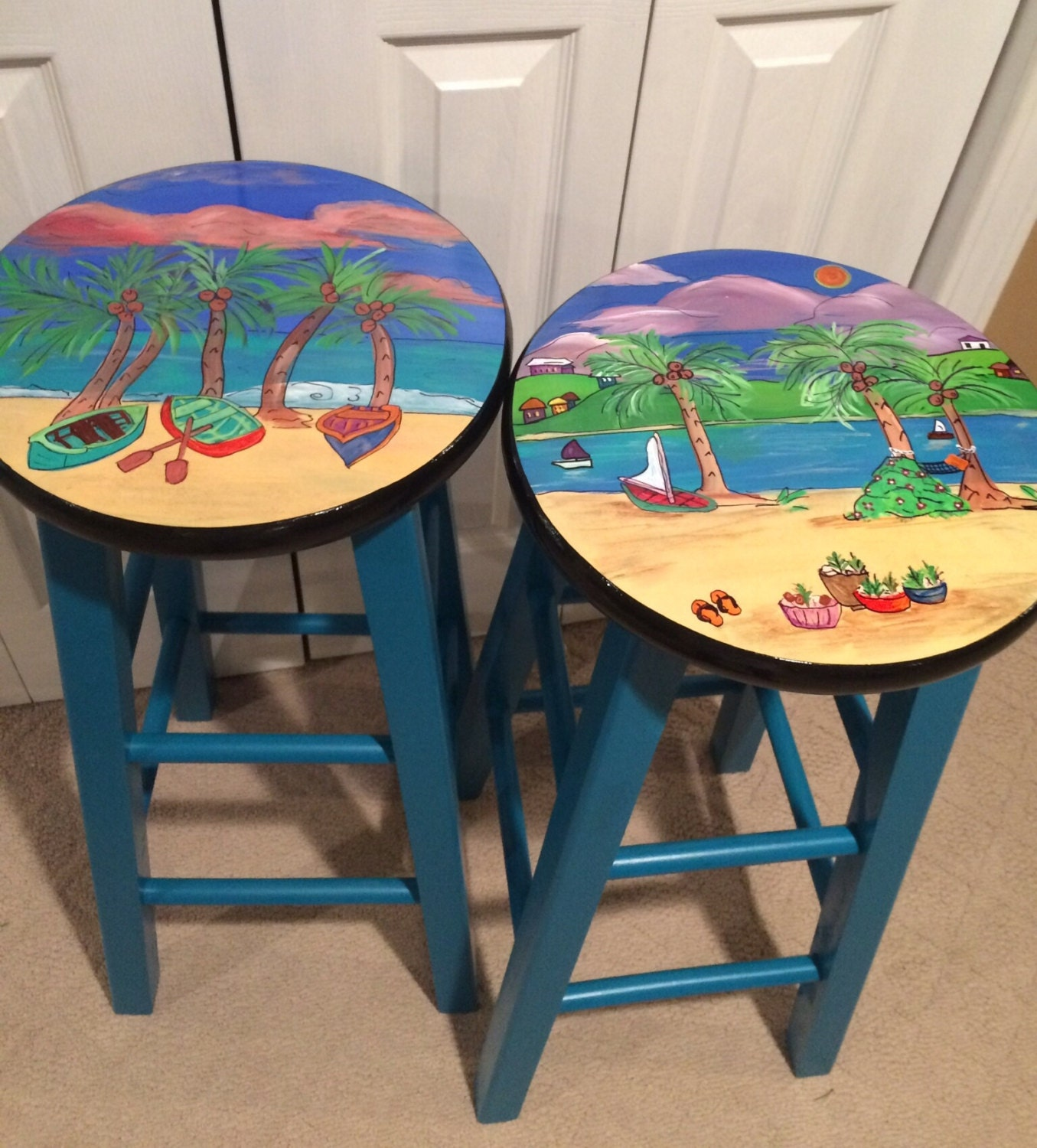 Whimsical Painted Furniture Painted Bar Stool Miami Style