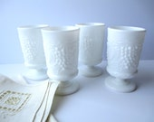 Vintage Imperial Glass Grapevine Footed Juice Glasses Set of Four