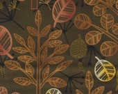 Dark Olive Green Forest Floor Leaves Print 100% Cotton Quilting Fabric