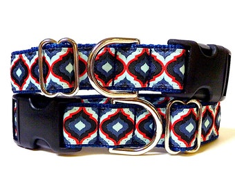 """1"""" wide LANTERNS navy and red Dog Collar, Tag Collar, Buckle Collar"""