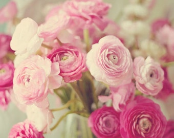 Still Life Photography - Pale Pink Flower Bouquet Ranunculus Pink Flowers Nursery Girls Room Bedroom Decor Shabby Chic Decor Pastel Photo