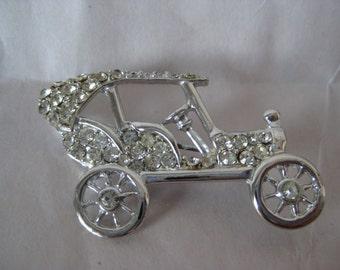 Car Rhinestone Brooch Clear Silver Vintage Pin Automobile Antique