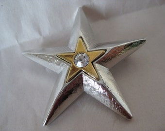 Star Gold Silver Rhinestone Brooch Vintage Pin Clear