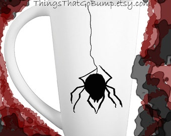 Pottery Black widow mug spider mug black and white tall pottery mugs made to order 16 ounce