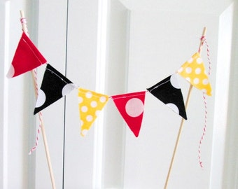 Cake Topper -Mickey Mouse theme flag Bunting -Cake Bunting -Mini Birthday Banner -1st Birthday -Mini Bunting -Cake Smash~INCLUDES DOWELS~