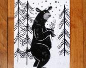 Winter Black Bear Giclee Print 5x7