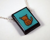 Teal Cat Necklace