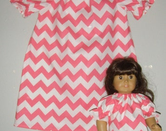 """Tunic top SALE 10% off code is tiljan Chevron Pink Riley Blake fabric short  sleeves matching doll top for 18"""" doll  2t,3t,4t,5,t6,7,8,10"""
