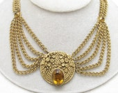 Brass Festoon Necklace Victorian Revival Swag Antique Jewelry N6435