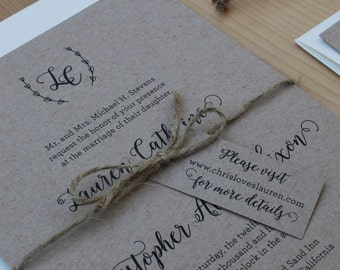 Rustic Wedding Invitation, Printed Invitation, Branch Monogram, Kraft and Twine Wedding Invitation SAMPLE