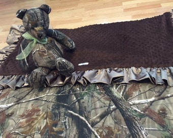Real tree camouflage minky blanket