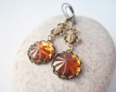 Sacred Scarab - Vintage Glass Earrings